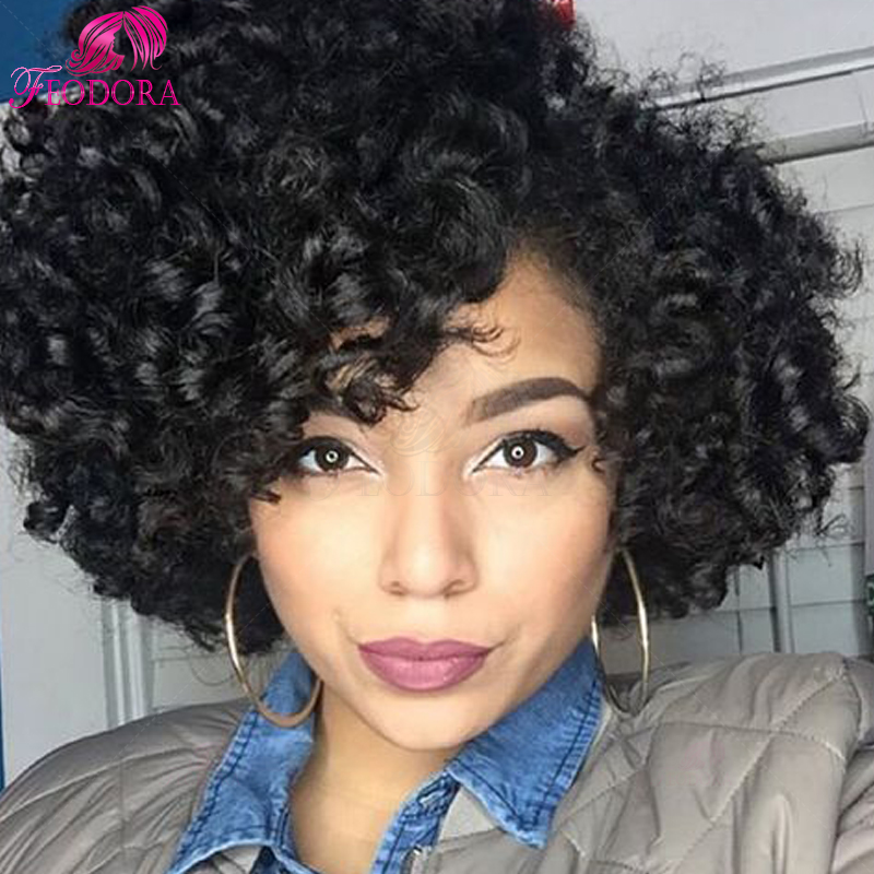u part wig Grade 7a customized 100% human hair curly hot sale unprocessed brazilian in stock for black women natural hairline