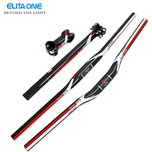 ELITAONE 2016 Carbon Fiber MTB Bicycle Parts Set Carbon Flat or Riser Handlebar + Stem+ seatpost 3k gloss red green blue(China (Mainland))