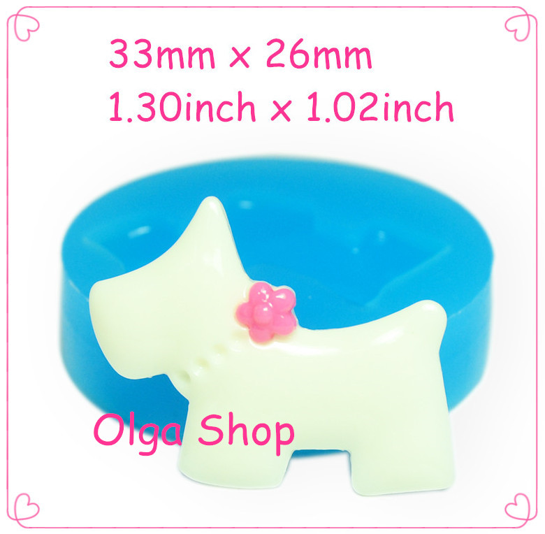 33mm DYL270 Dog Silicone Mold with Flower Fondant Cake Decoration Icing Polymer Clay Chocolate Cotton Candy Soap(China (Mainland))