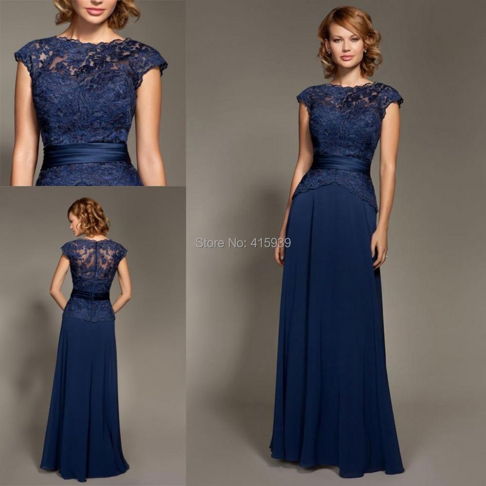 Mark lesley dark navy blue bridesmaid dress lace chiffon for Long navy dress for wedding