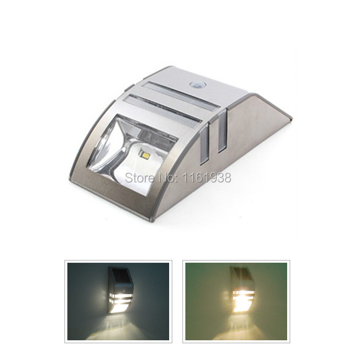 Solar Power Motion Sensor 2 LED White/Warm White Light PIR with Dim Mode Garden Outdoor Wall Path Security Lamp(China (Mainland))