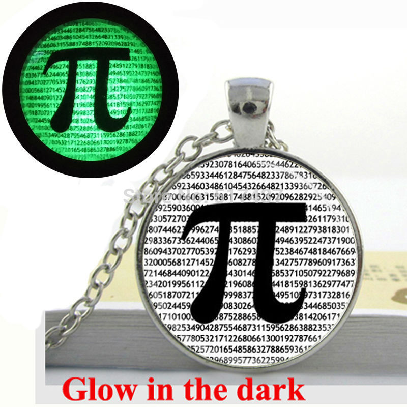 Glow in the dark Necklace PI Necklace Math Jewelry Teachers, Science, Mathematics glass art photo necklace Glowing Jewelry(China (Mainland))