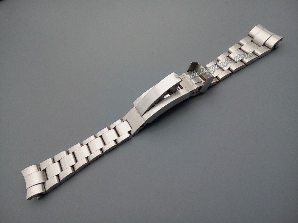 21mm Men strap high quality solid stainless steel watch band curved end deployment clasp buckle for