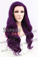 24″ Long Curly Wavy Dark Purple Lace Front Wig Heat Resistant 20076