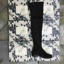 Co Giãn Giả Da Lộn Đùi Cao Cấp Giày Phụ Nữ Trên Đầu Gối Giày Đế Bằng Gợi Cảm Thời Trang Thu Đông Size Lớn Giày 2019 Xám Đen(China)