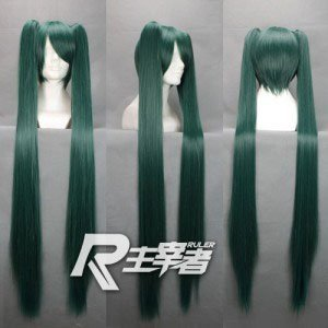 Miku~120cm long straight length cosplay costume wig,chipons ponytails hair,have stock.Free shipping<br><br>Aliexpress