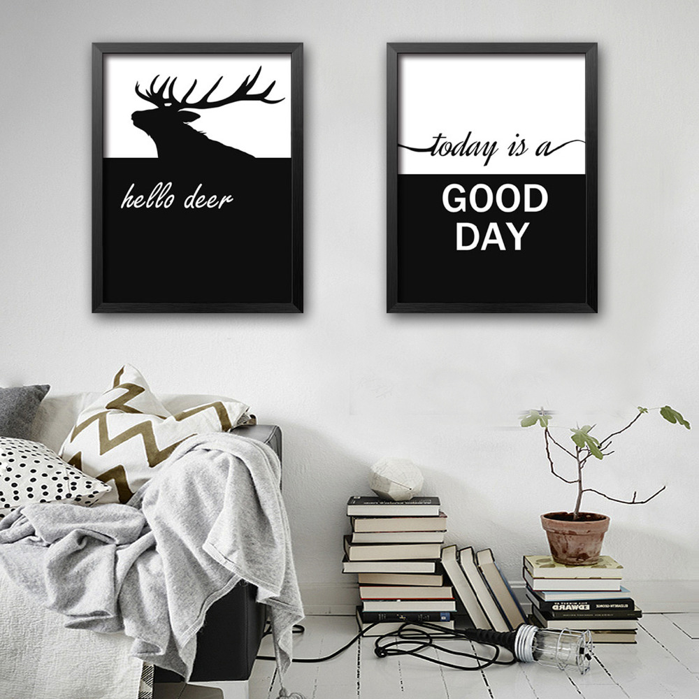 Free Shipping Framed Canvas Painting Art Deer And Letters Theme Series Painting Canvas Print Wall Art