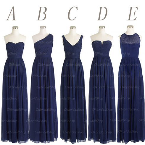 Navy Blue Wedding Dresses .com : Buy navy blue long chiffon mismatched bridesmaid dresses ...