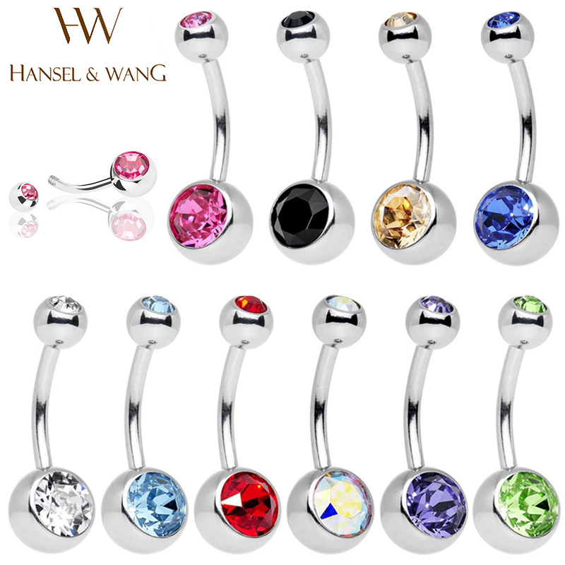 Hansel Wang 10pcs Navel Piercing Surgical Stainless Steel Belly Button Rings Body Jewelry Percing Navel Piercings