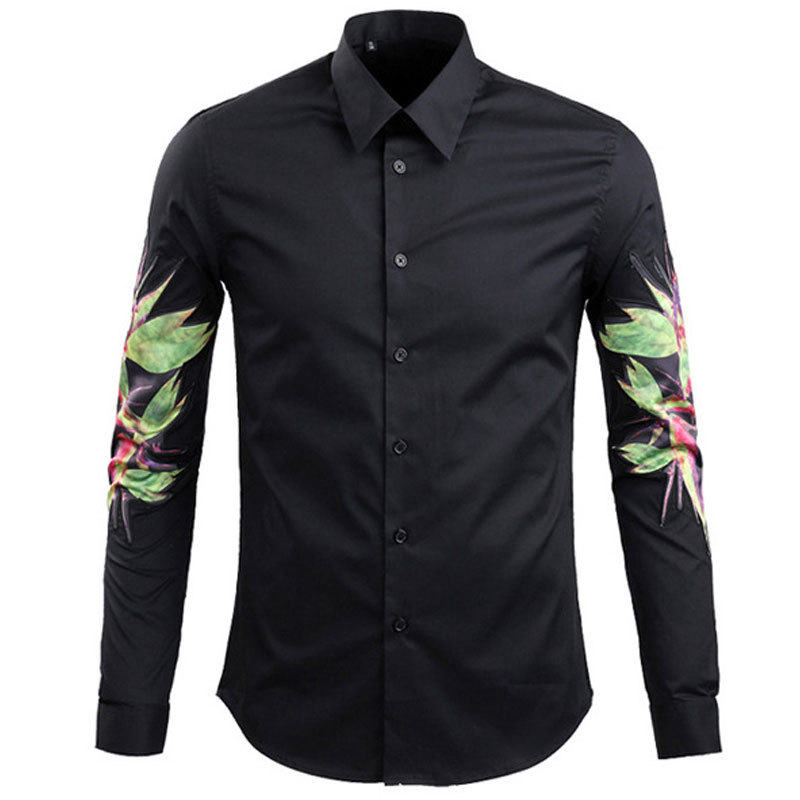 Luxury brand men shirt 2016 fashion design floral long for Expensive mens dress shirts brands