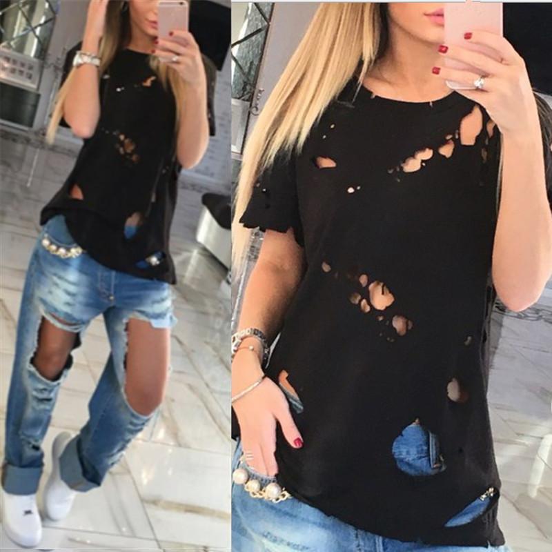 Wholesale 2016 Summer Holes T Shirt Women Fashion Sexy Black White