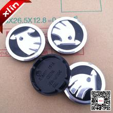 4pcs Hight quality 56.5mm Skoda logo car emblem Wheel Center Hub Cap Auto Wheel badge covers for Octavia Fabia Superb 5JA601151A(China (Mainland))
