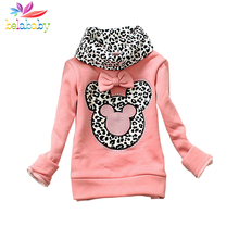 Belababy Girl Autumn Cartoon Sweatshirt New Winter Children Thicken Leopard Turtleneck Pullover Kids Long Sleeve Minnie Sweater