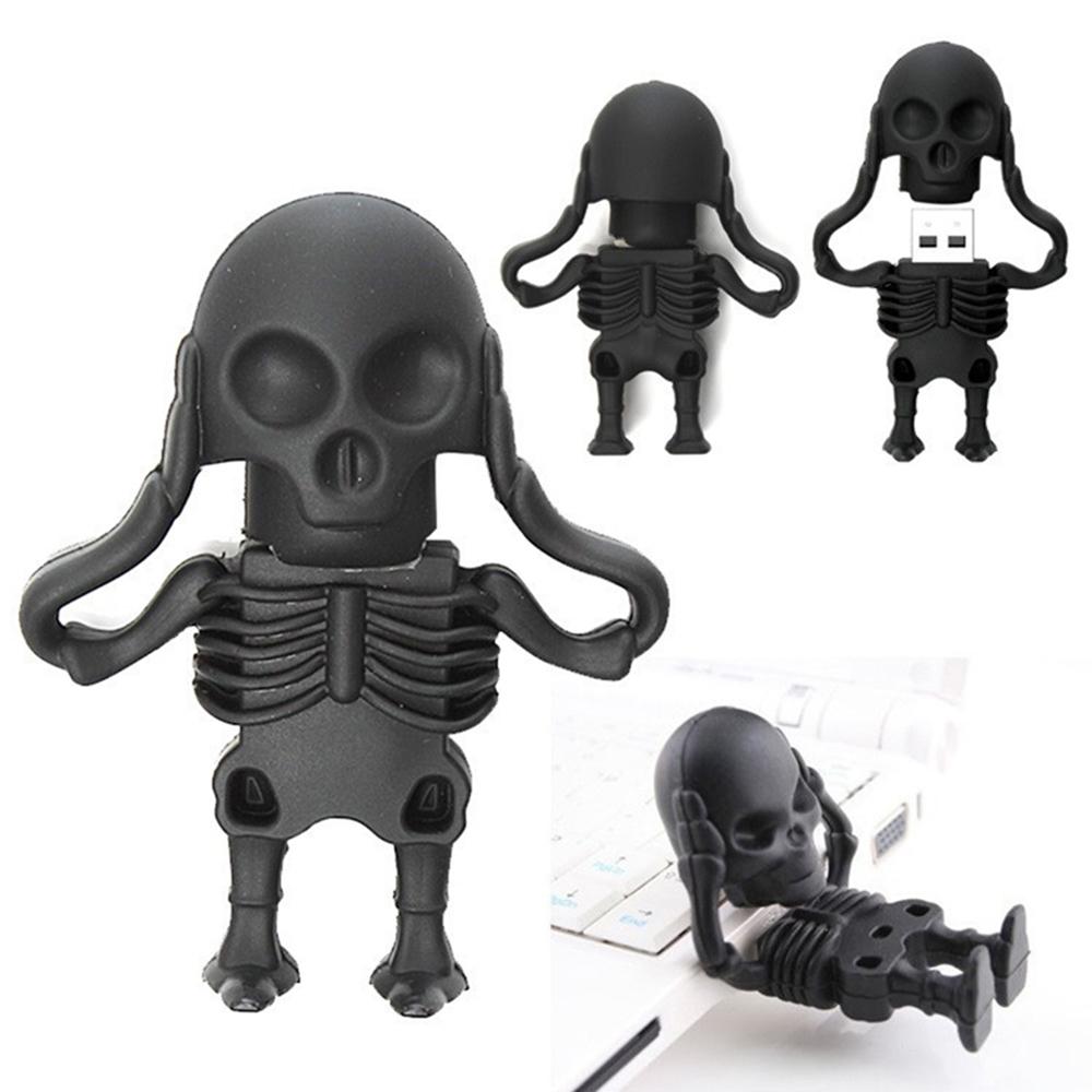 Crazy hot cartoon USB flash drive 4G 8G black skeleton man style pen drive 16G 32G usb stick pendrive 64GB memory stick creative(China (Mainland))