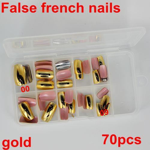 70Pcs 10 sizes Acrylic UV Gel False French nail Fake Nail Art Design wrap Tips Metallic Shiny gold Free Shipping packed box(China (Mainland))