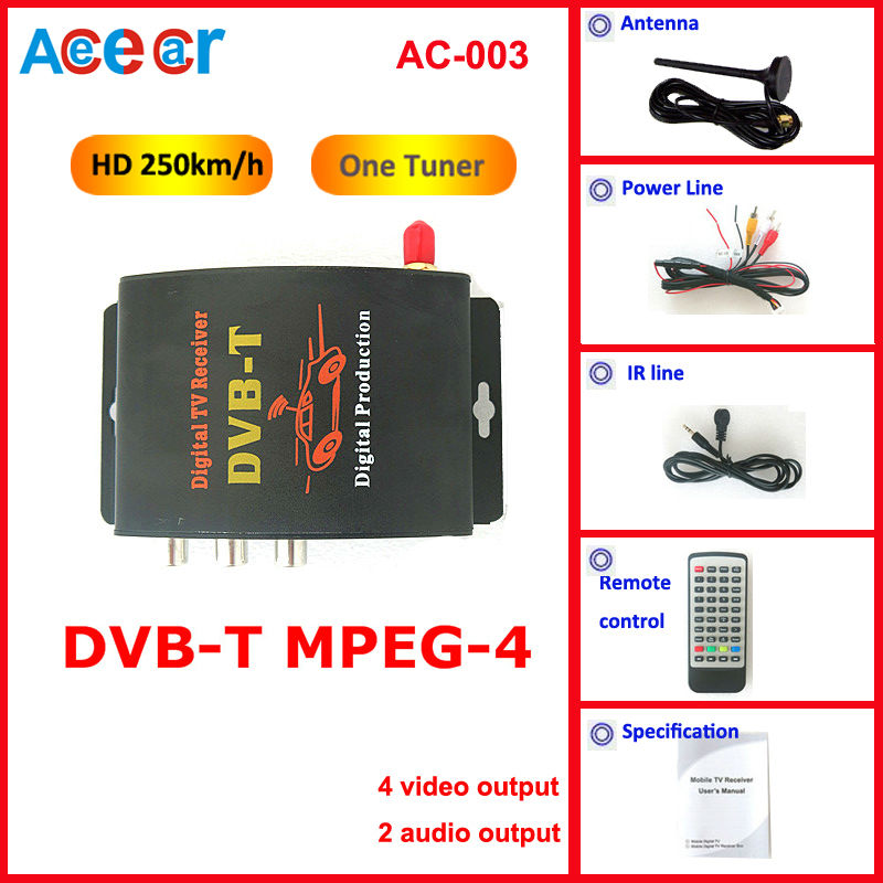 New car mobile HD DVBT Receiver digital TV Car TV receiver Tuner compatible mpeg4+mpeg2 composite CVBS with 4 video output(China (Mainland))