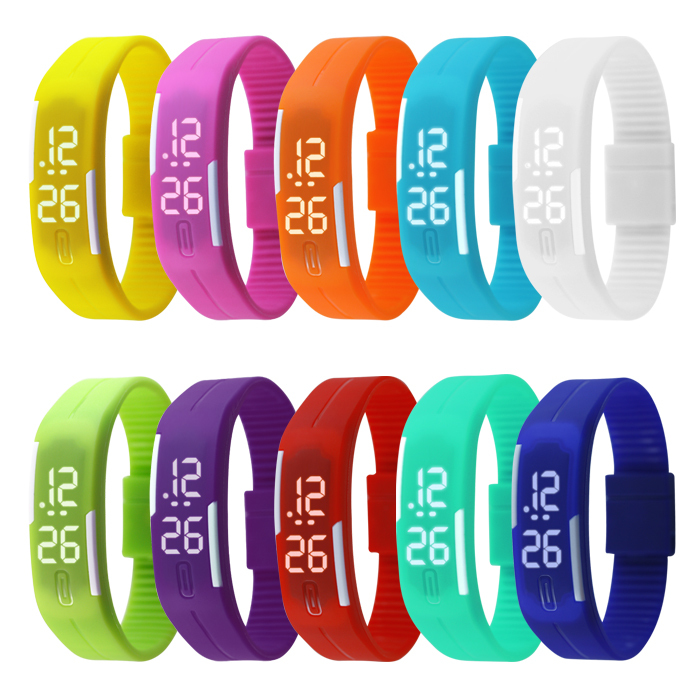 New Arrival! Fashion Sport LED Watches Candy Color Silicone Rubber Touch Screen Digital Watches, Waterproof Bracelet Wristwatch(China (Mainland))