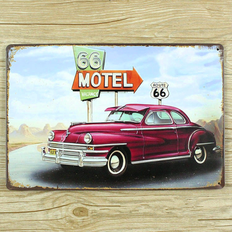Cool car and 66 road metal Tin signs malt vintage home decor decorative plaques for bar wall art craft 20X30CM SP-QC-052(China (Mainland))