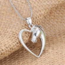2015 Fashion New jewelry plated white K Horse in Heart Necklace Pendant Necklace for women girl