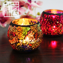 Fashion mosaic glass candle holder for romantic candlelight dinner confession wedding Tea light candle cup  Holiday Decoration(China (Mainland))