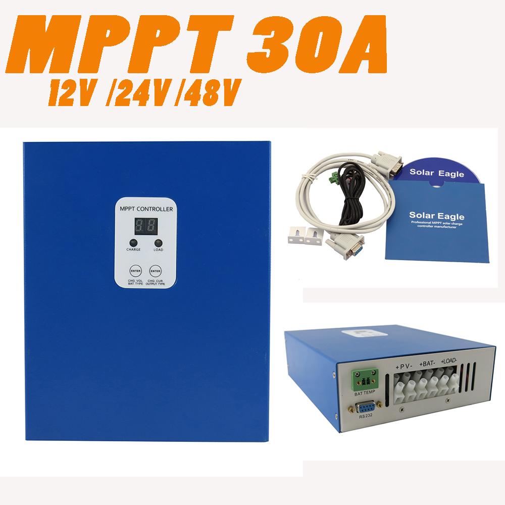 MPPT 30A LCD Solar Controller RS232 PC communication 12V 24V 48V Solar Panel battery charger  solar regulator e-Smart<br><br>Aliexpress