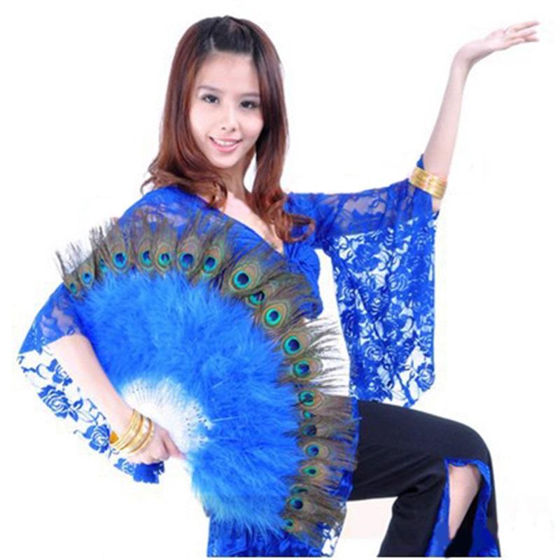 Hermosa danza del vientre traje de pavo real pluma de mano plegable 10 colores(China (Mainland))