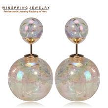 Winspring 2015 New Colorful AB Plastic Earrings 9Colors Women Pearl Plastic Earring Korean Design Pearl Plastic Earrings