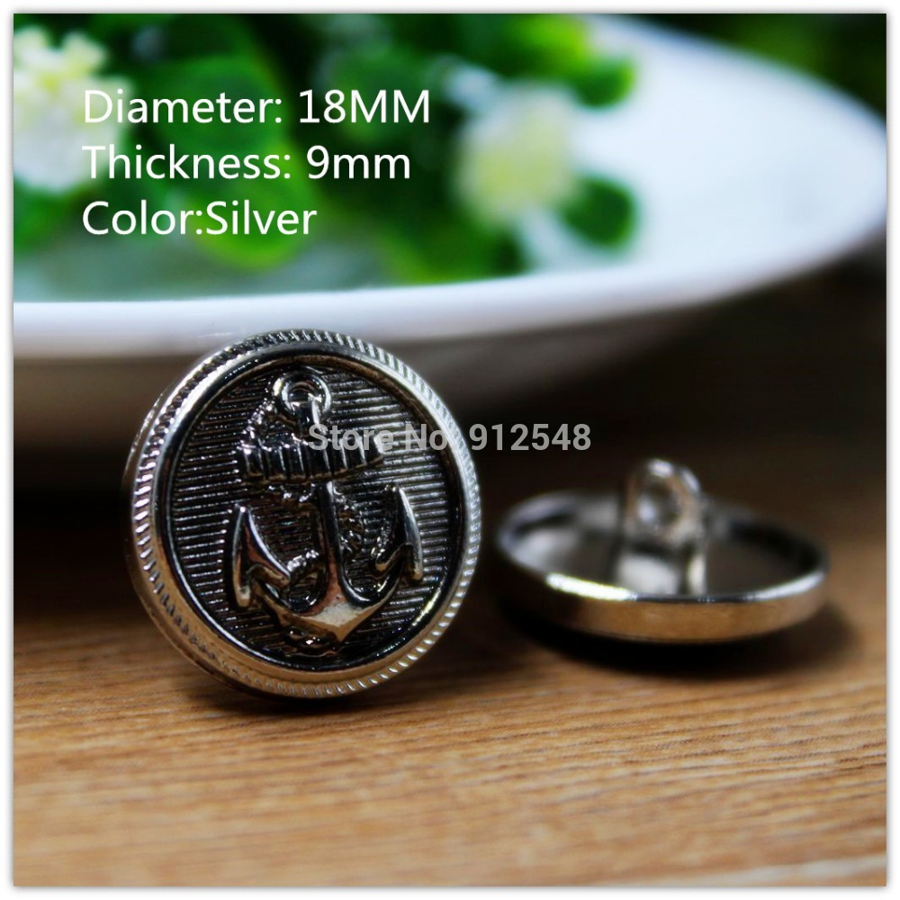 15418170,10pcs 18mm Classic fashion Silver Anchor metal buttons, DIY handmade materials, Clothing accessories(China (Mainland))