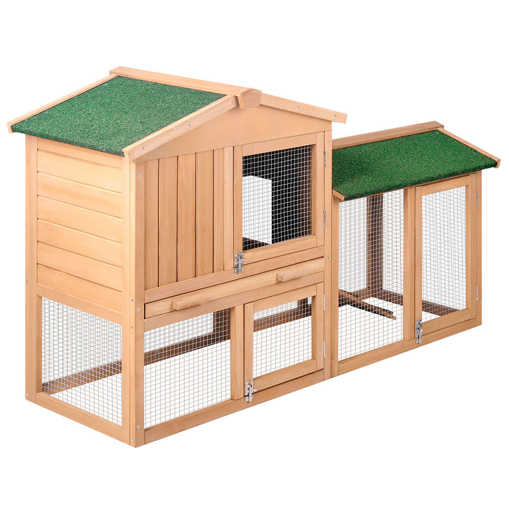 Rabbit Hutch Chicken Coop Cage Guinea Pig Ferret House W 2
