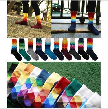 2016 10colors Men's socks British Style Plaid calcetines Gradient Color brand elite long cotton  for happy men wholesale socks