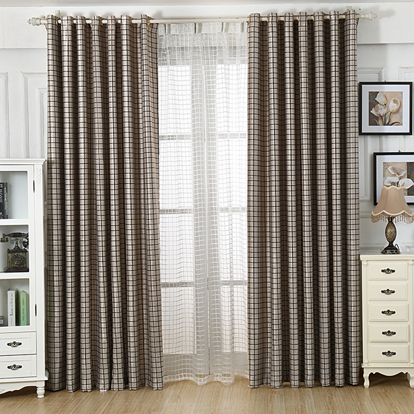 2015 new grey plaid finished luxury modern blackout for Modern curtains for living room 2014