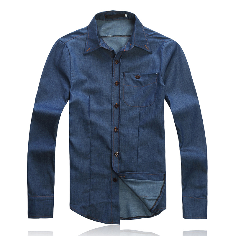 Slim solid color denim long sleeve shirt best brand for Top dress shirt brands