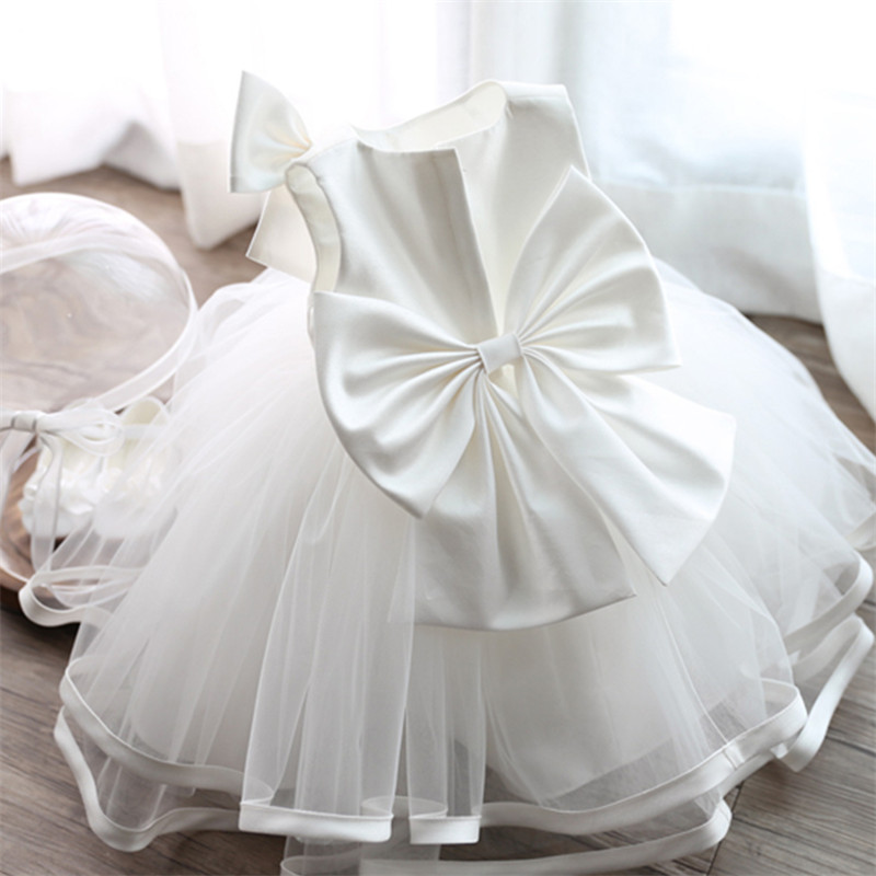 White Toddler Chiffon Christening Gown 1 Year Old Baby ...