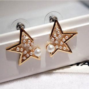 Korean cute star stud earrings pearl jewelry 2015, lady fashion trading company gold plated brincos pendientes perlas aretes(China (Mainland))