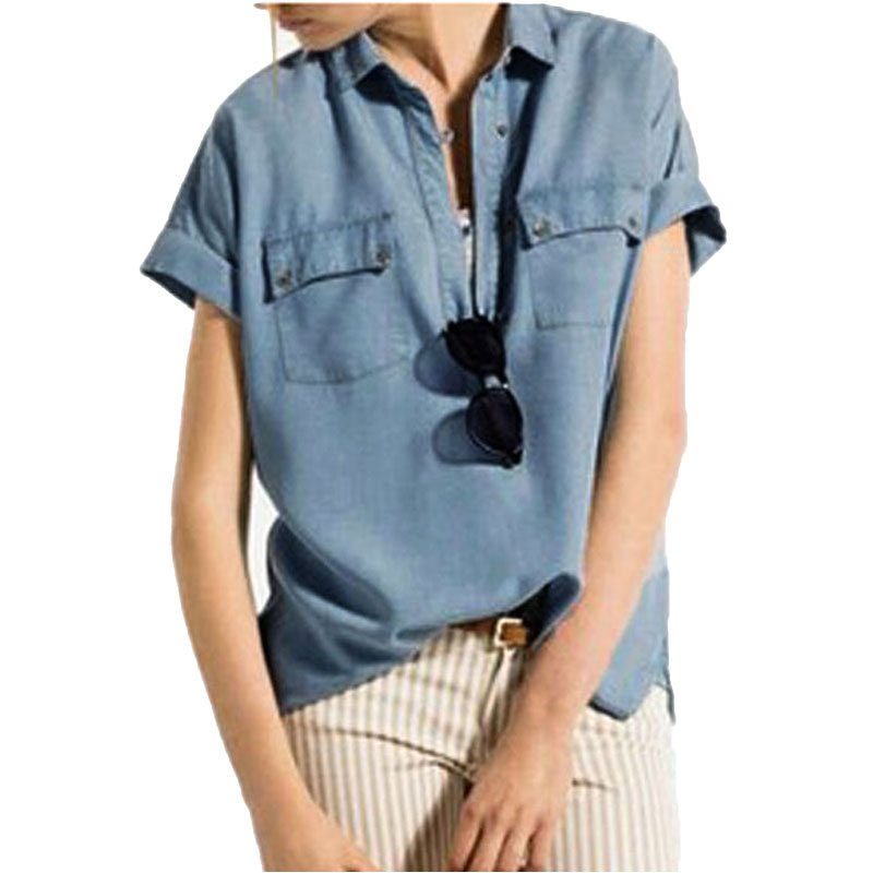 2015 European Style Women Fashion Classic Turn-down Collar Short Sleeve Shirt Casual Solid Button Denim Blouses Tops Blusas(China (Mainland))