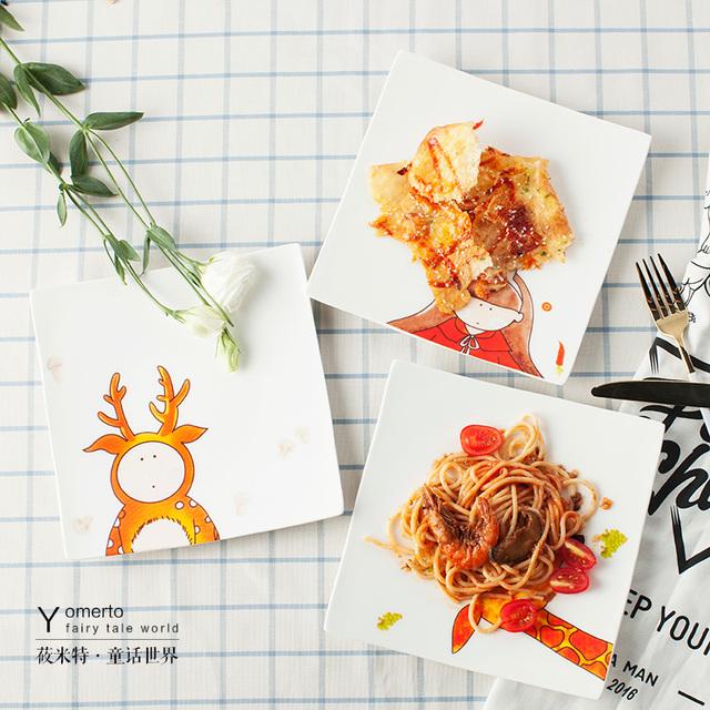 Керамические плиты западная еда блюдо блюдо творческий стейк фруктовый торт блюдо площадь дома суши плиты Hotel