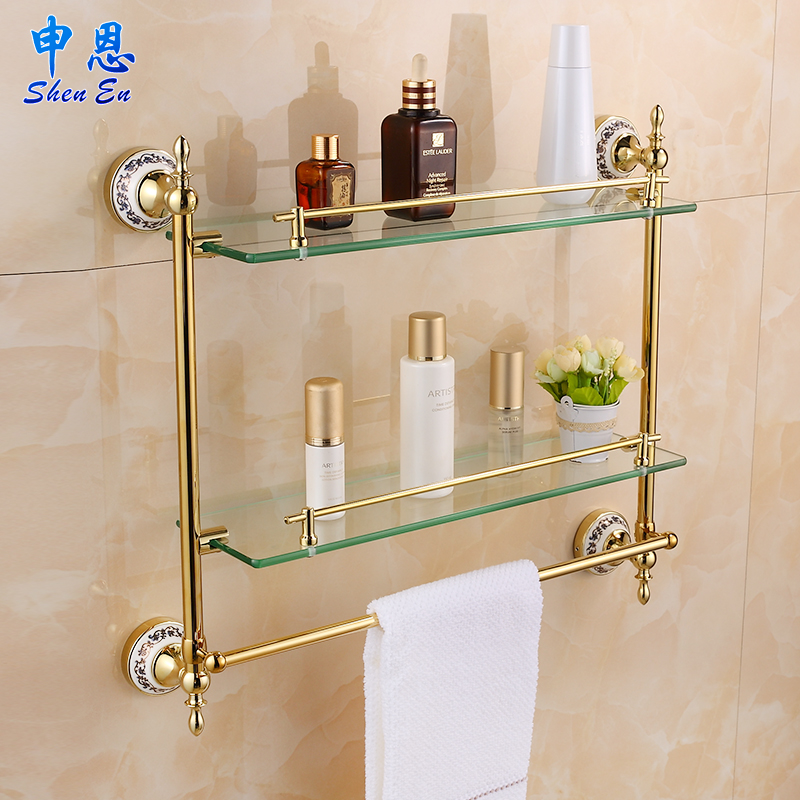 European gilding bathroom shelf toilet glass shelf towel for Bathroom glass shelves