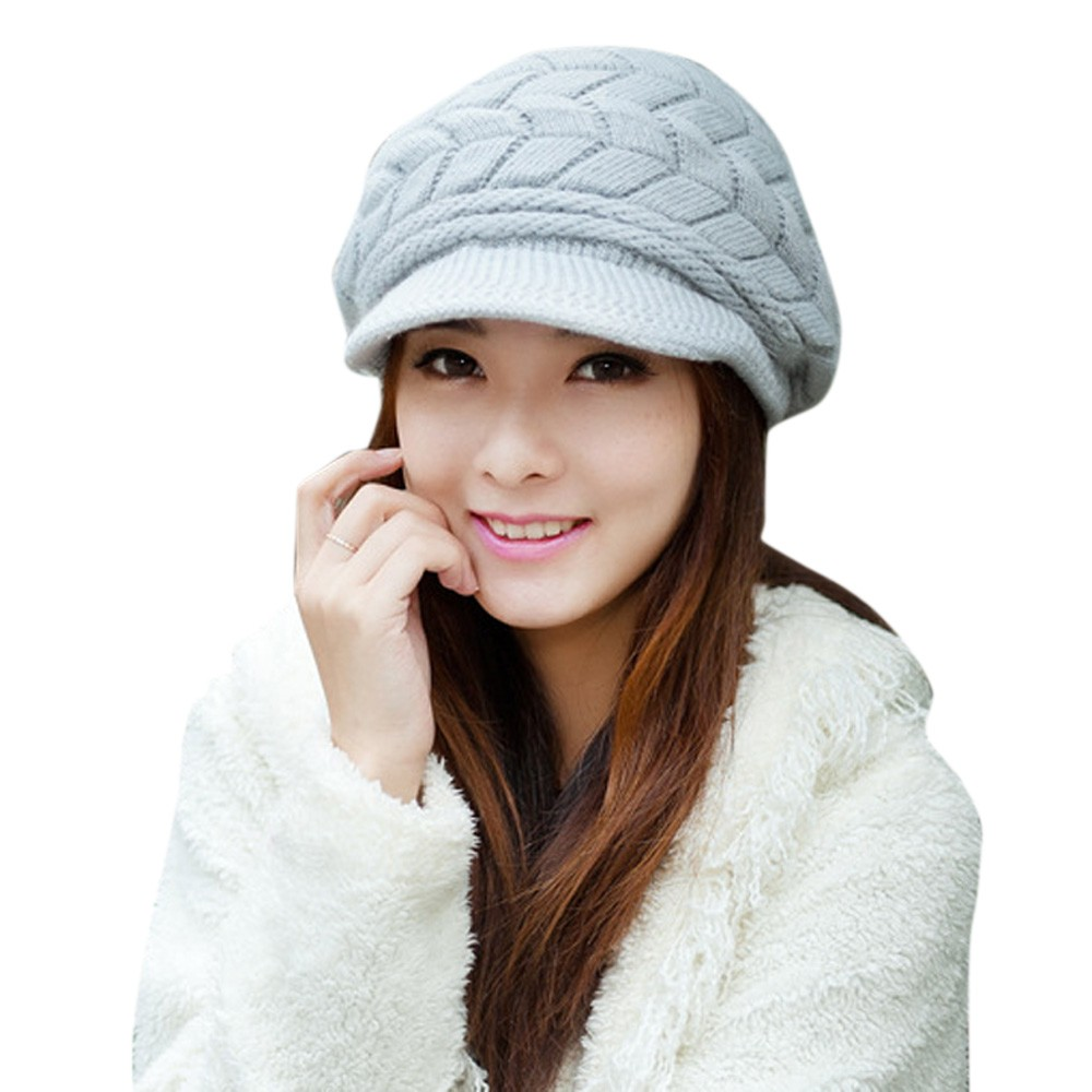 Women's Autumn Winter Cotton Knitted Cap Knitted Hat Double Layer hats for women 6 Candy Colors 34(China (Mainland))