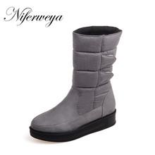 2016 mujeres Del Invierno corto botas de ante de la manera Punta Redonda bajo zapatos de tacón de Gran tamaño 30-52 señoras Resbalón-En Mitad de la Pantorrilla botas de nieve x-007(China (Mainland))