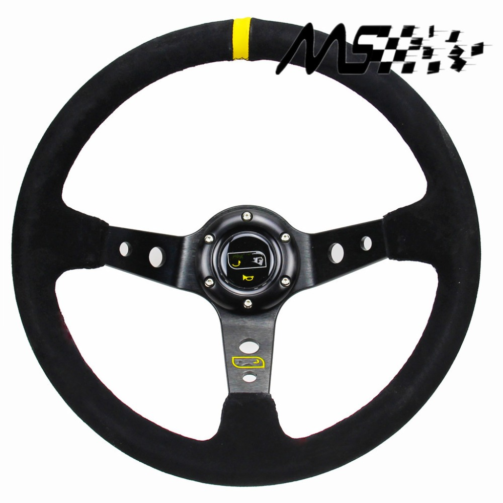 OMP style 14inch 350mm OMP Deep Corn Drifting Steering Wheel / Suede Leather Steering wheels(China (Mainland))