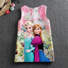 Hot 2016 Girl Dresses Girl Elsa Anna Dresses Butterfly Print Princess Dress Baby Girls Party Dress Kids Clothes 2-8Y vestidos