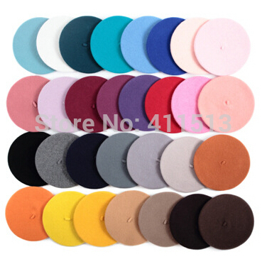 Hot Sell 2016 Cheap Fashion New Lady Womens Wool Blend Solid Beret Beanie Winter Hat Ski Cap Gifts High Quality(20 Colors)(China (Mainland))