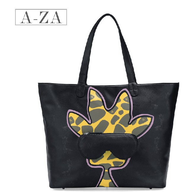 NEW 2014 Special Offer PU Leather Restore Cartoon Graffiti Inclined Big Bag Women lovely Giraffe Handbag Woman Shoulder Bag 3151(China (Mainland))