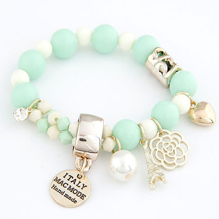 7 colors 2014 new arrival beaded fashion cute hearts romantic roses name plate Eiffel pearl beads bracelet jewelry for women(China (Mainland))