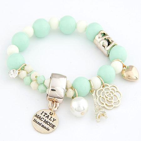 Гаджет  7 colors 2014 new arrival fashion cute hearts romantic roses nameplate Eiffel pearl beads bracelet jewelry for women None Ювелирные изделия и часы