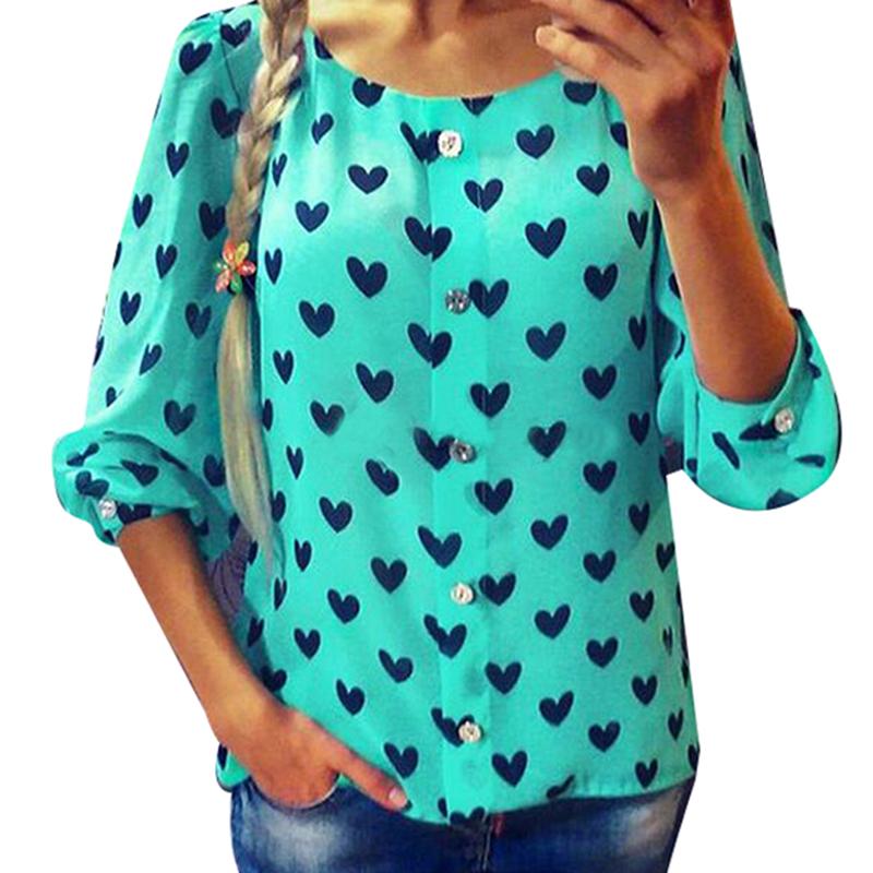 2015 Women Blouses Spring Autumn Heart Printed Casual Shirts Three Quarter Lantern sleeve Chiffon Blouse Blusa Femininas LQ8719B(China (Mainland))