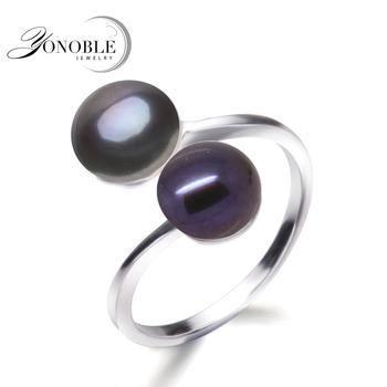 Wedding black ring natural pearl rings women silver 925 double pearl rings adjustalle wife anniversary birthday gift top grade