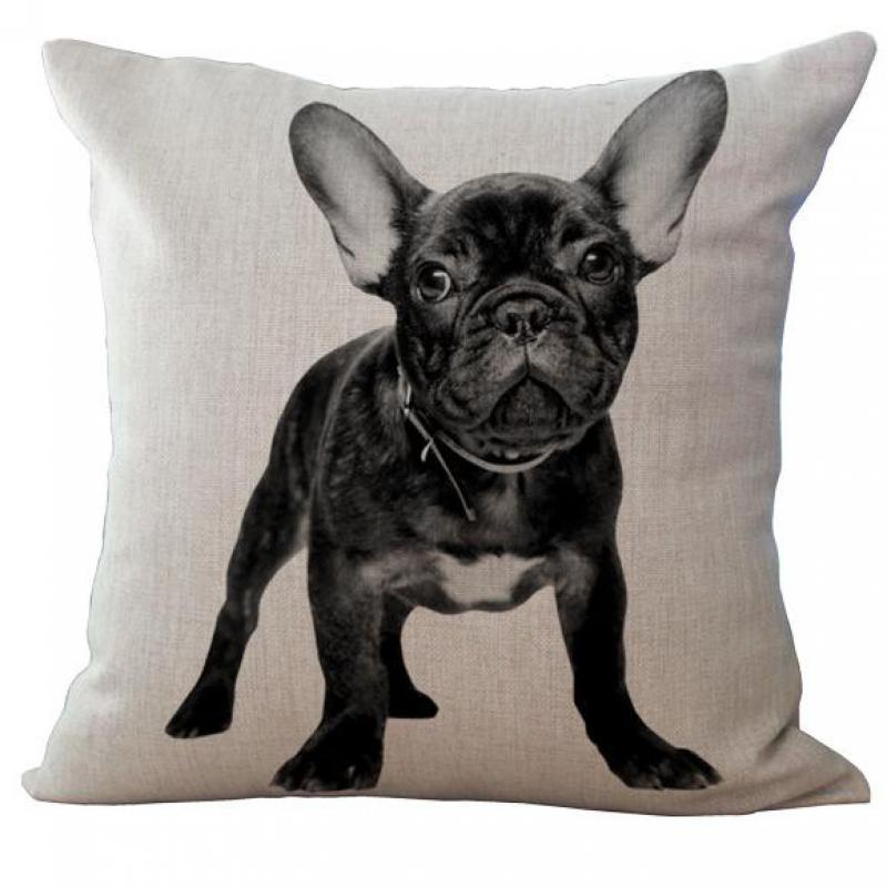 European Style Adorable French Bulldog Dog Series Cotton Linen Cushion Cover For Home Decor Sofa Waist
