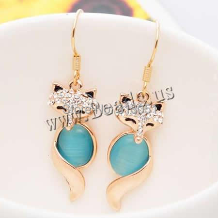 Free shipping!!!Zinc Alloy Drop Earring,Wholesale, with Cats Eye, brass earring hook,  18K gold plated<br><br>Aliexpress