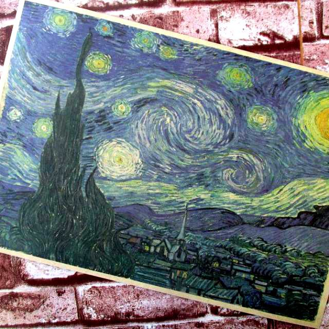 Van gogh abstract painting the starry sky retro posters Kraft paper adornment picture Bar hangs a picture Cafe posters for walls(China (Mainland))